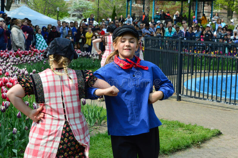 Tulip Time Dutch Dance program. This photo was taken during Tulip Time Festival 2016 in Holland, Michigan stock photography