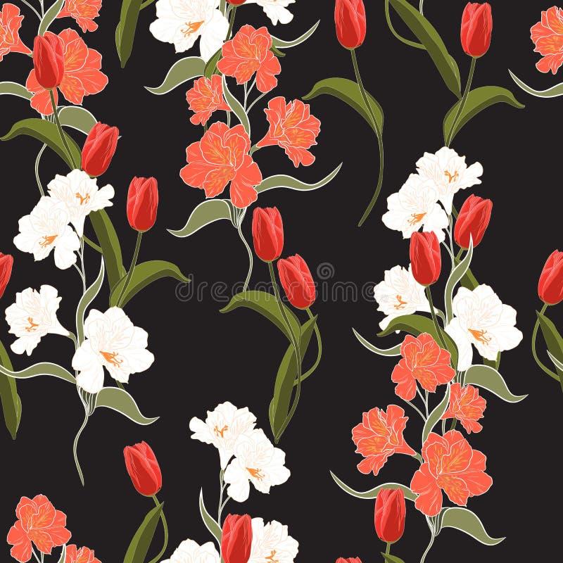 Tulipa alaranjada de florescência selvagem na moda freshy da flor do verão bonito e teste padrão sem emenda do alstroemeria ilustração stock