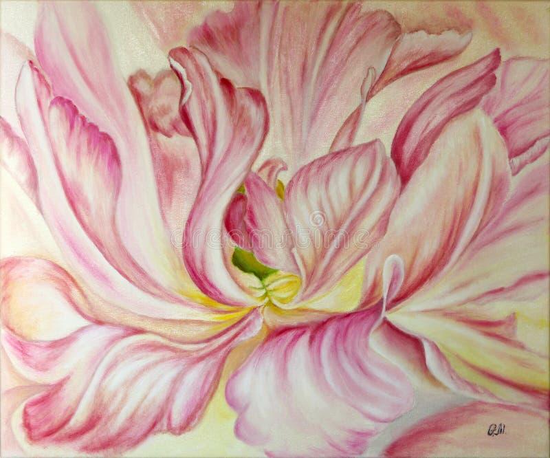 Tulipa de florescência cor-de-rosa Petróleo na lona Pintura bonita ilustração do vetor