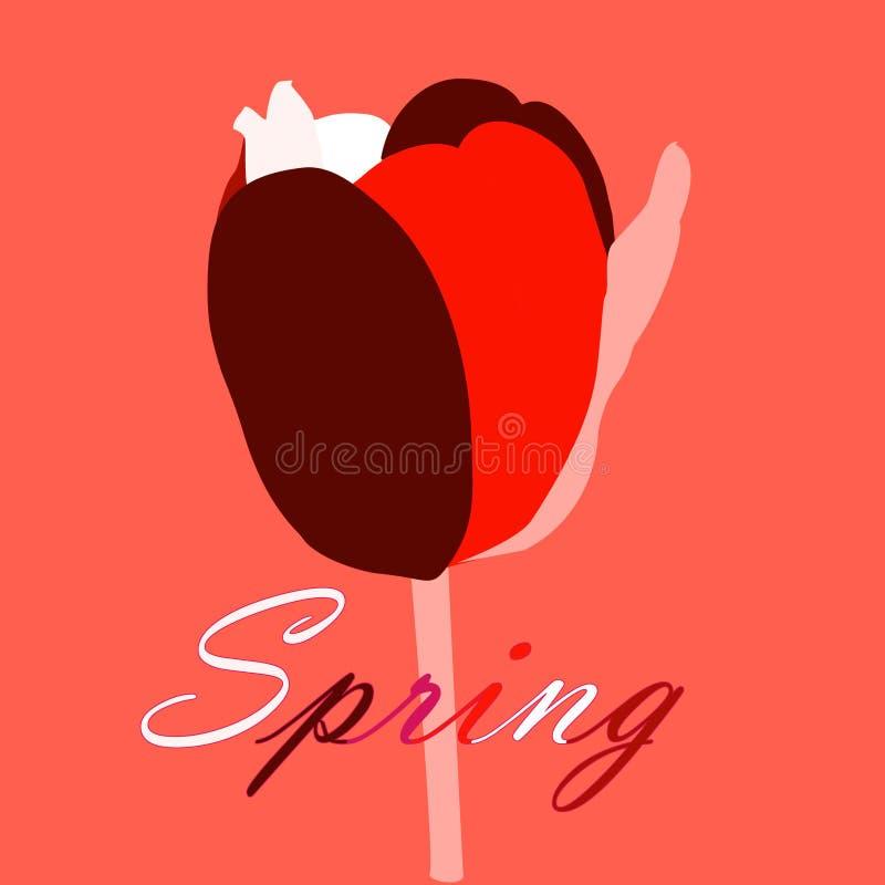 A tulipa muito-colorida abstrata em um fundo coral vivo, o cartão da mola com tulipa abstrata e as letras saltam ilustração do vetor