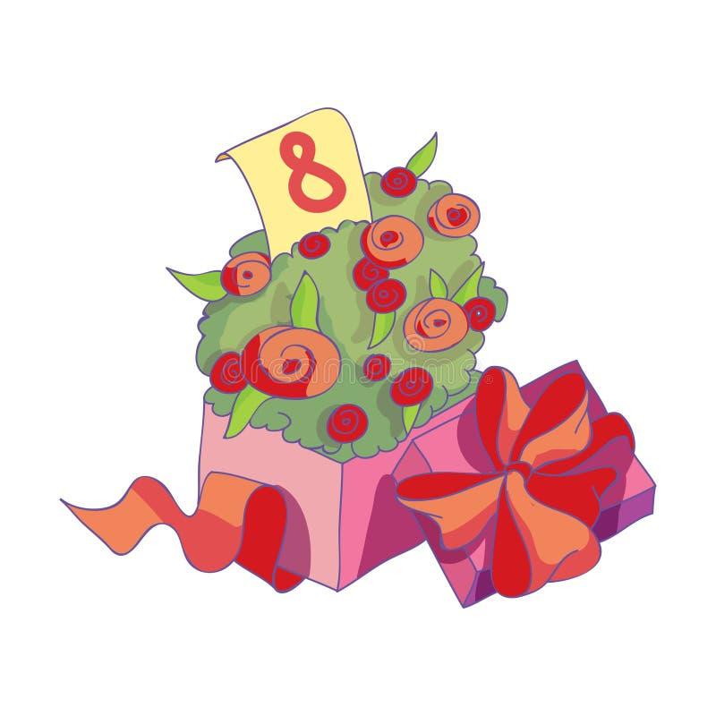 Tulipanów kwiaty pakujący w pudełkowatym i zawijający z faborkiem i łękiem na deklu Przedstawia dla kobiet s dnia 10 tło projekta ilustracji