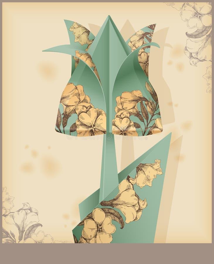Tulipan - rocznika dekoracyjny papier. ilustracja wektor