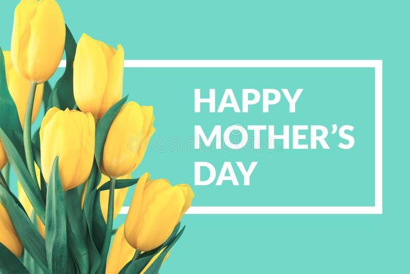 Tulipanes amarillos en fondo de la turquesa con el mensaje del saludo mot foto de archivo libre de regalías