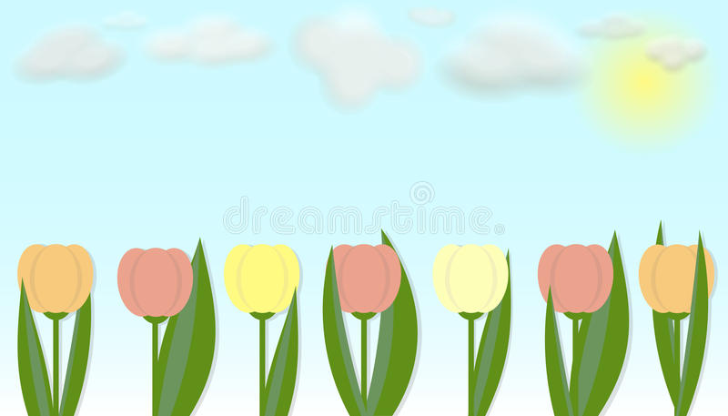 Tulipanes coloridos del vector stock de ilustración