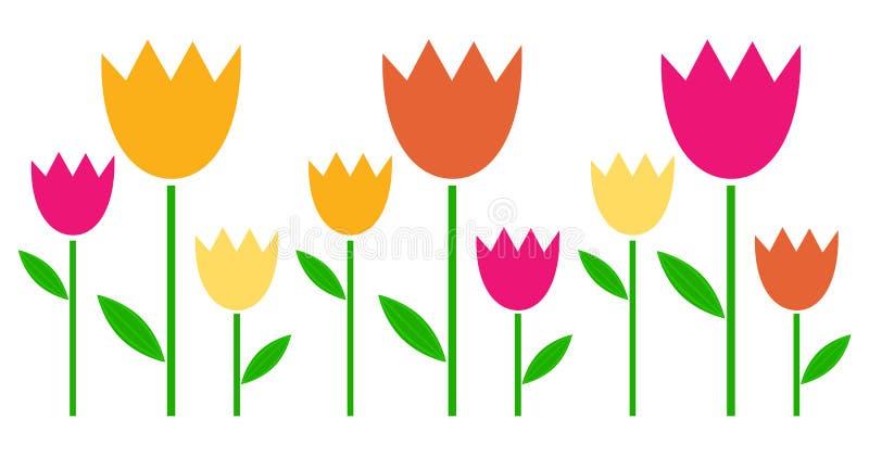 Tulipanes coloridos de la primavera en fila stock de ilustración
