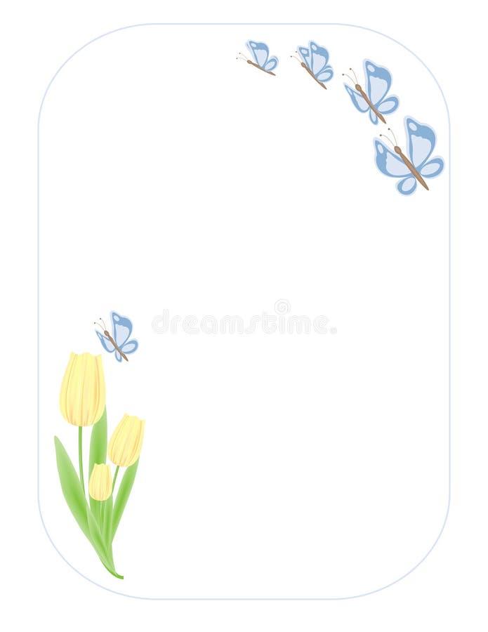 Tulipanes de Butterflys n stock de ilustración