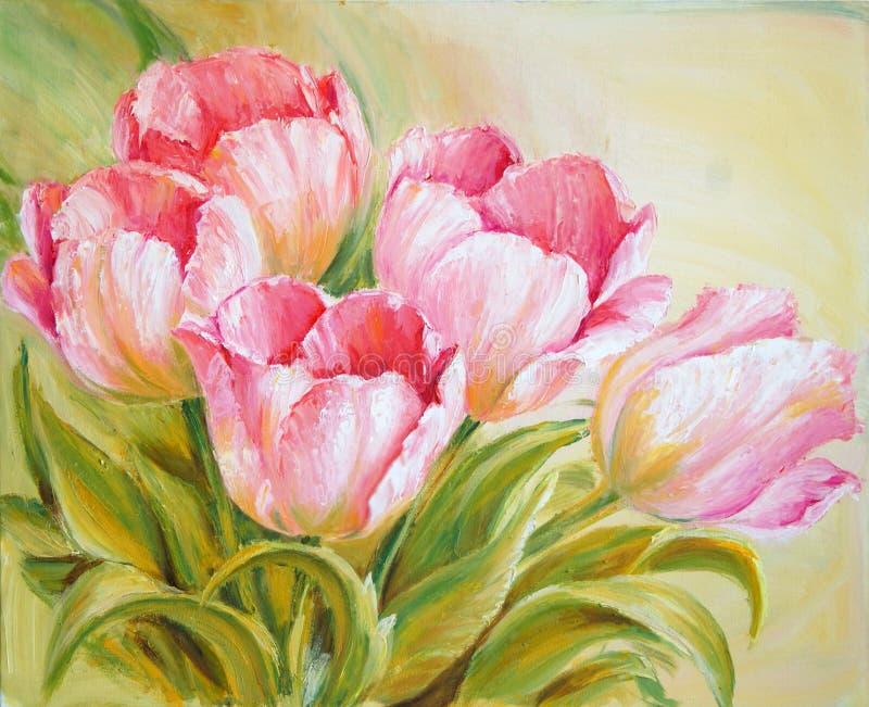 Tulipanes de la pintura al óleo ilustración del vector