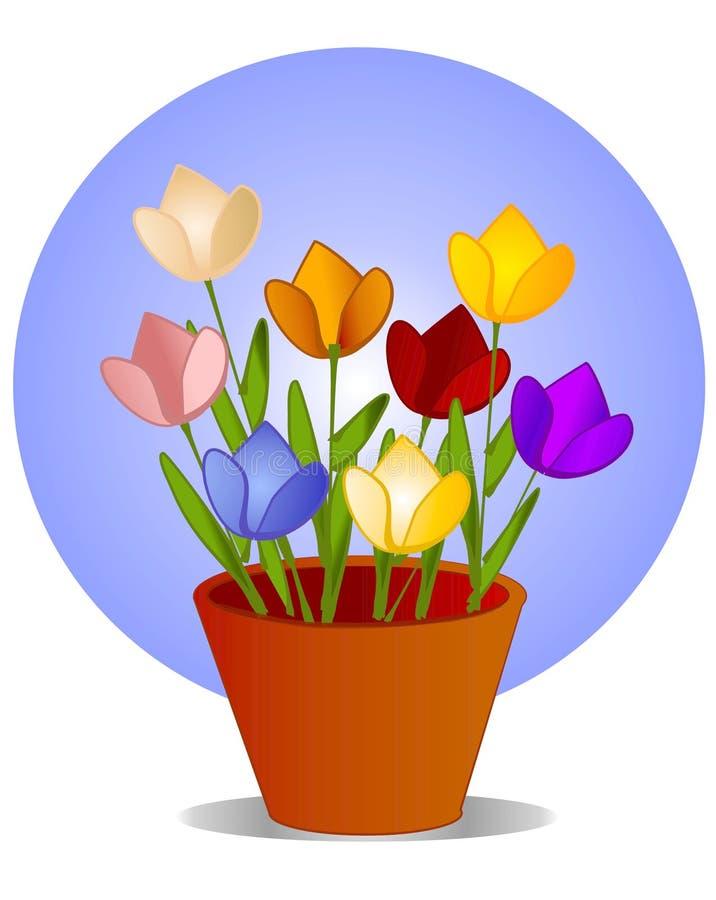 Tulipanes en arte de clip del crisol de flor stock de ilustración
