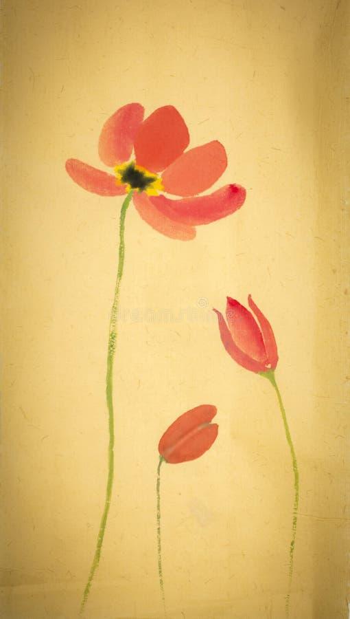 Tulipanes en un fondo amarillo ilustración del vector