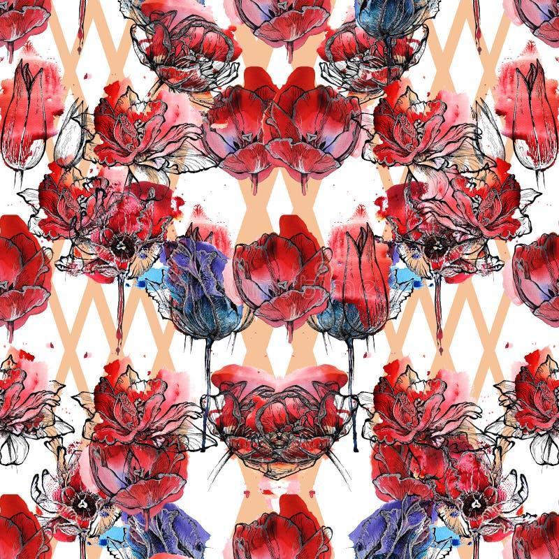 Tulipanes inconsútiles del estampado de flores ilustración del vector