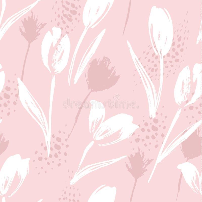 Tulipanes inconsútiles florales abstractos del modelo Texturas dibujadas mano de moda ilustración del vector