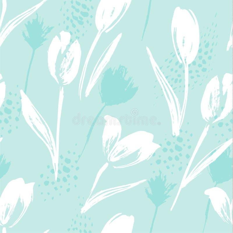 Tulipanes inconsútiles florales abstractos del modelo Texturas dibujadas mano de moda stock de ilustración