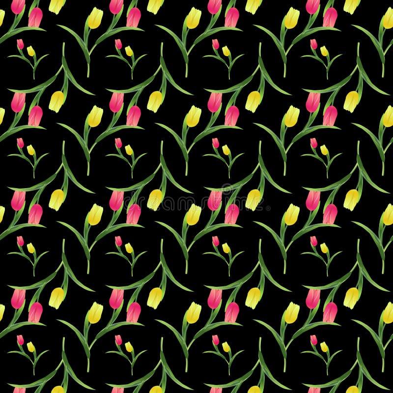 Tulipanes pattern2-01 inconsútil stock de ilustración