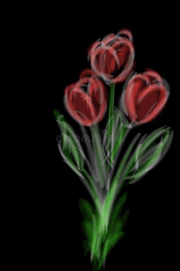 Tulipanes rojos del drenaje de la tableta en fondo negro fotografía de archivo libre de regalías