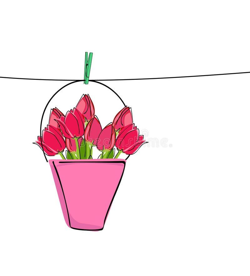 Tulipanes rojos en línea de ropa stock de ilustración