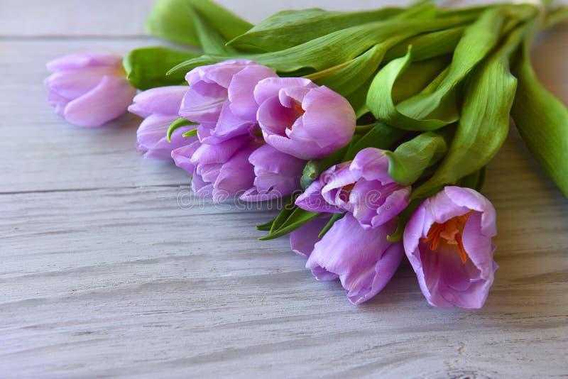 Tulipanes rosados en un fondo de madera foto de archivo libre de regalías