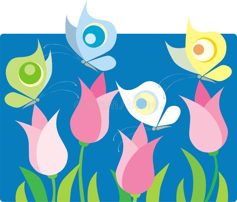 Tulipanes y mariposas stock de ilustración