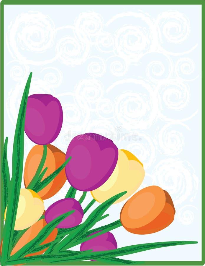 Tulipanes y nubes del remolino stock de ilustración
