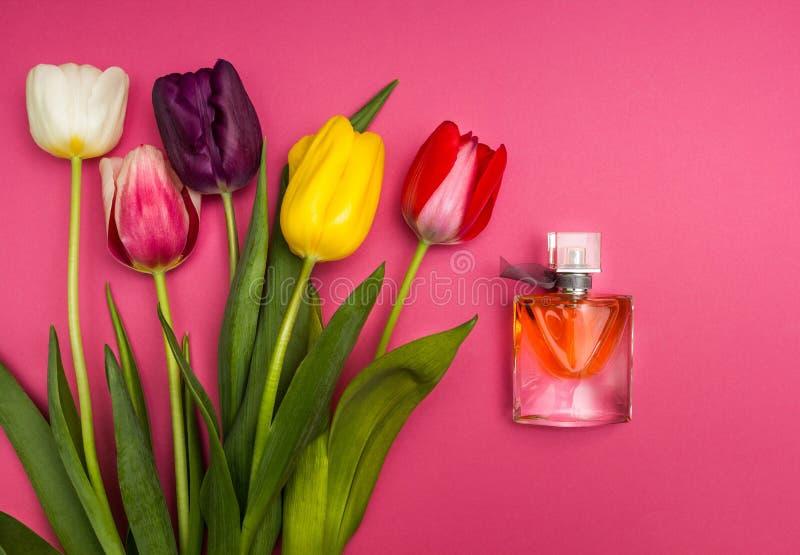 Tulipanes y perfume en fondo rosado imagen de archivo