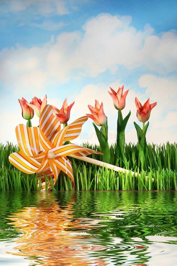 Tulipanes y pinwheel fotos de archivo libres de regalías