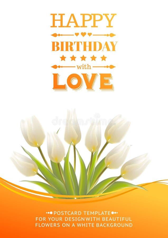 Tulipani bianchi su una carta per il compleanno illustrazione vettoriale