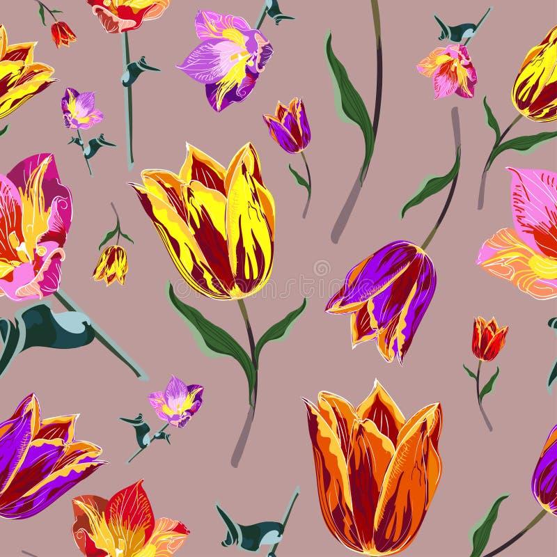 Tulipani colorati senza cuciture illustrazione di stock