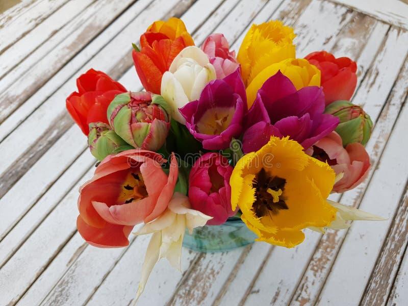 Tulipani Colourful sulla tavola d'annata fotografie stock libere da diritti