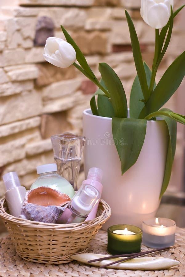 Tulipani e stazione termale domestica fotografie stock libere da diritti