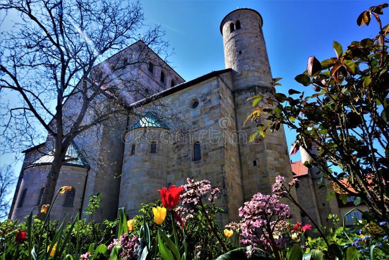 Tulipani ed altri fiori davanti alla chiesa di St Michael a Hildesheim fotografia stock libera da diritti