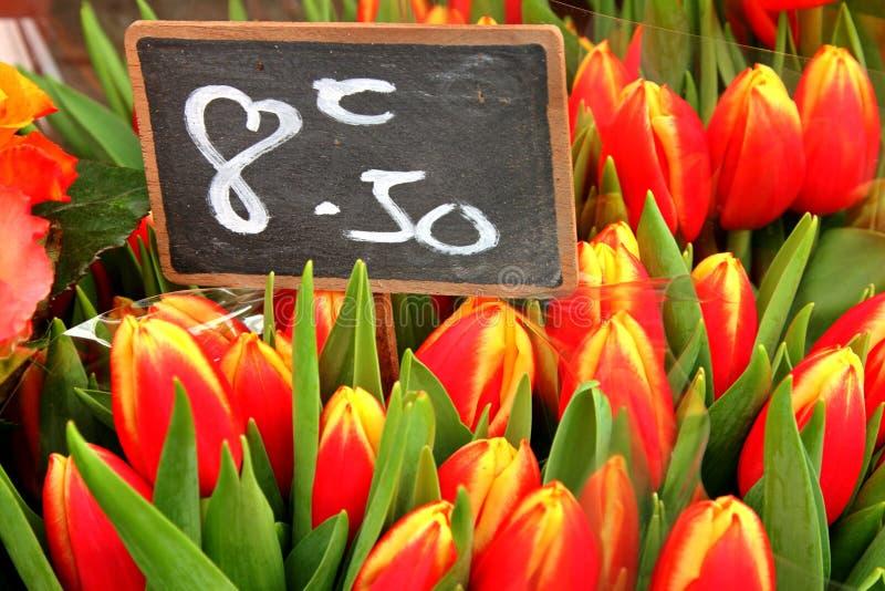Tulipani freschi del taglio a Parigi fotografie stock libere da diritti