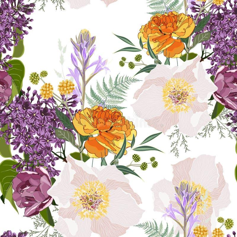Tulipani gialli e fiori beige della peonia con le erbe ed il modello senza cuciture del mazzo lilla Illustrazione di stile dell'a illustrazione di stock
