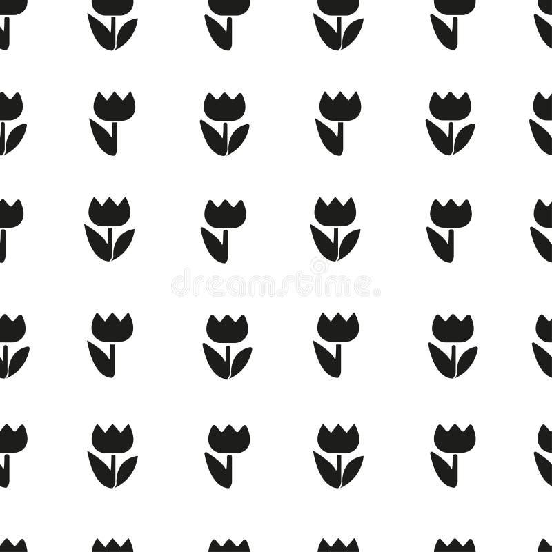 Tulipani neri dei fiori delle siluette del modello di vettore bei illustrazione vettoriale