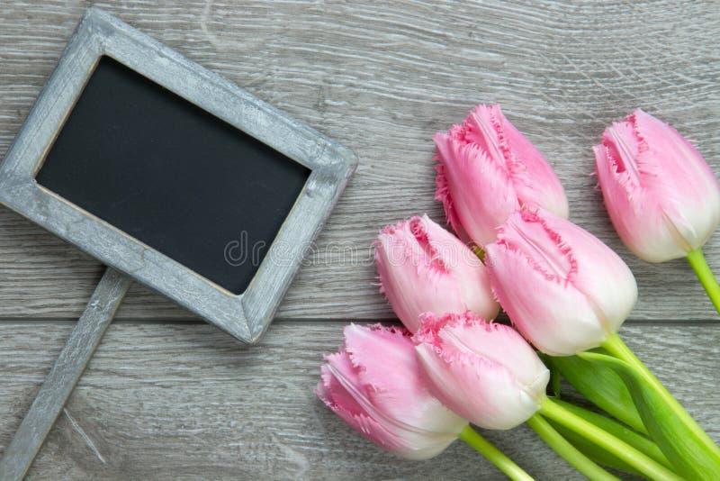 Tulipani operati guarniti degli arricciamenti su fondo di legno fotografia stock