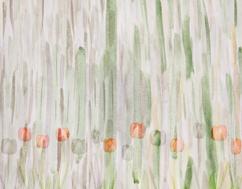 Tulipani pittoreschi su fondo verde astratto handmade illustrazione di stock