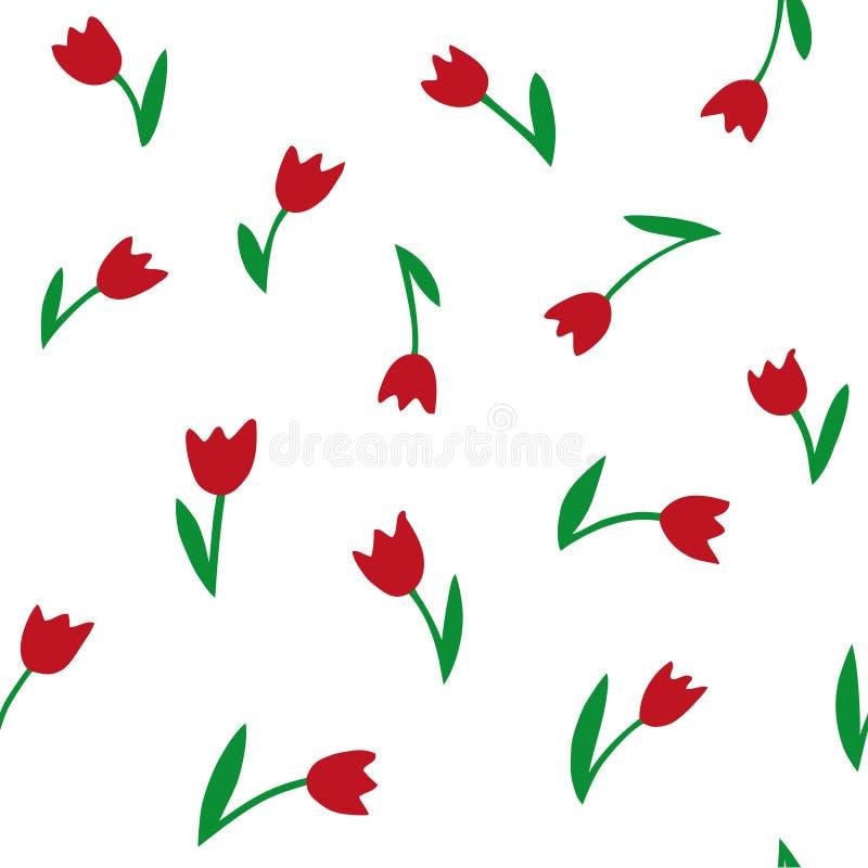 Tulipani Reticolo senza giunte di vettore Struttura del disegno della mano illustrazione vettoriale