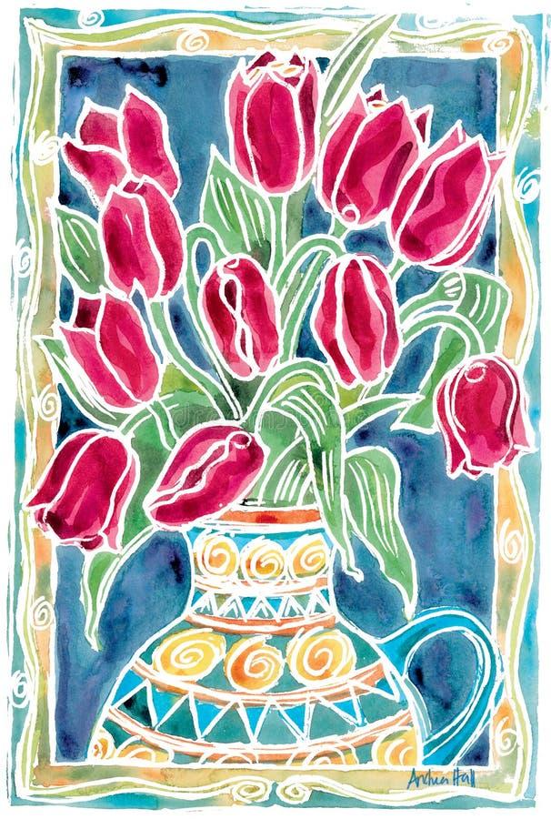 Tulipani rossi illustrazione vettoriale