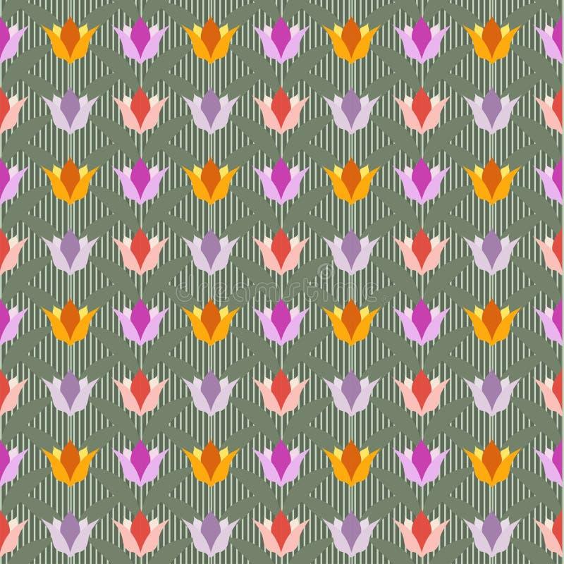 Tulipani su terra posteriore senza cuciture verde illustrazione di stock