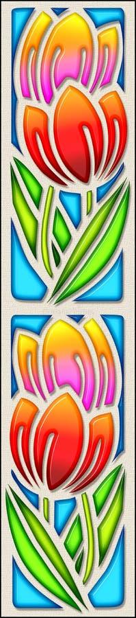 Tulipani in vetro macchiato illustrazione di stock