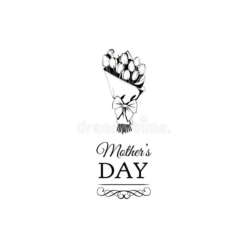 tulipano di fioritura dei fiori Giorno di madri felice cartolina d'auguri di giorno di madri Vettore royalty illustrazione gratis