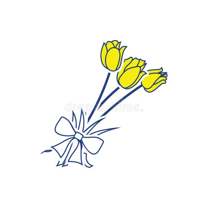 Tulipanu bukieta ikona z wiązanym łękiem ilustracji