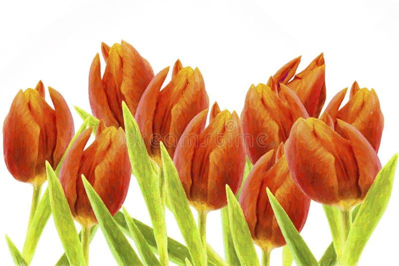 Tulipanu tło lasu obraz olejny krajobrazowa rzeka royalty ilustracja