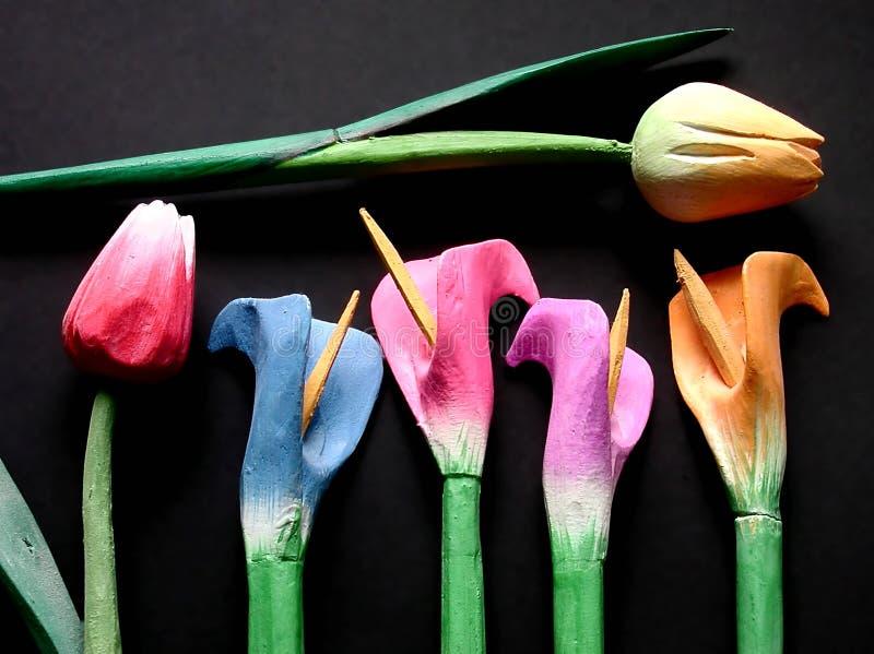 tulipany drewniane fotografia royalty free