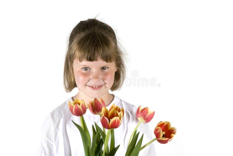 tulipany dziewczyna obraz royalty free