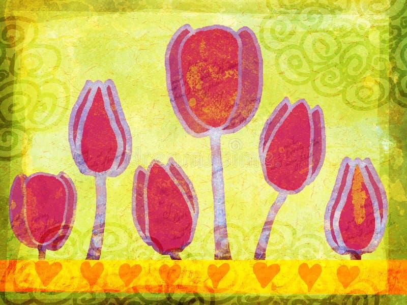 tulipany ilustracyjni grunge wiosny ilustracja wektor