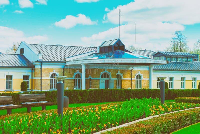 Tulipany kwitną fontannę w centrala parku Druskininkai Lithuania obrazy royalty free
