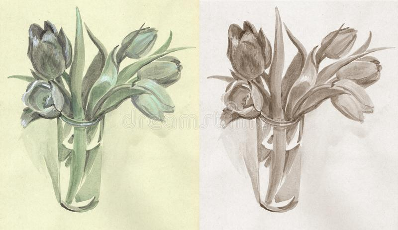 Tulipany Monochromatyczni fotografia stock