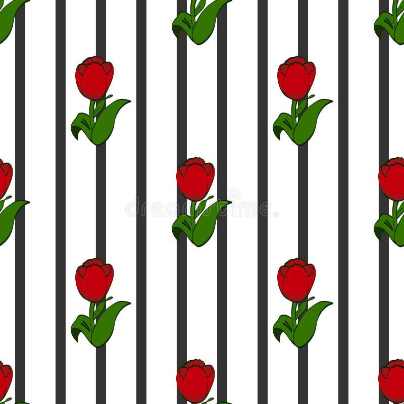 Tulipany na tle czarni lampasy, bezszwowy wzór royalty ilustracja