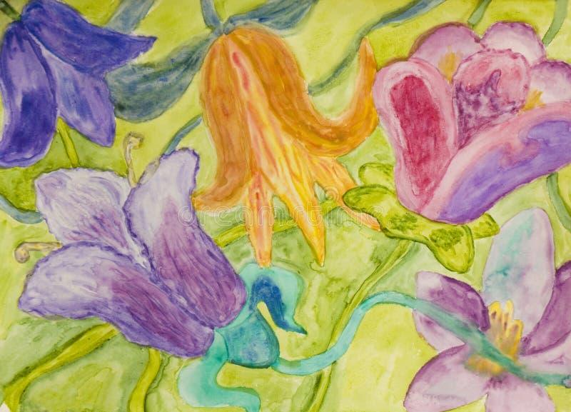 Tulipany, watercolours royalty ilustracja