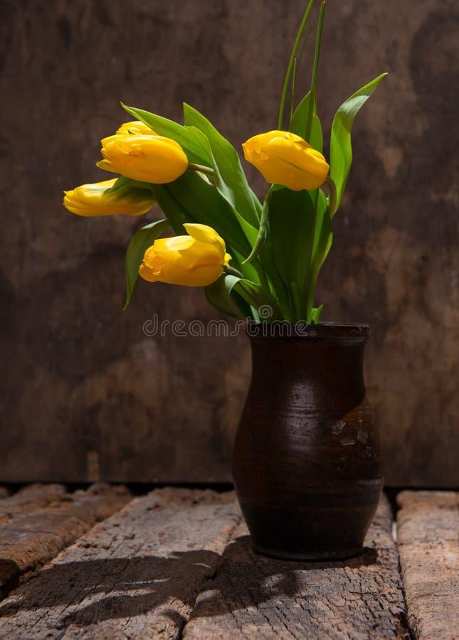 Tulipas amarelas bonitas no vaso fotografia de stock