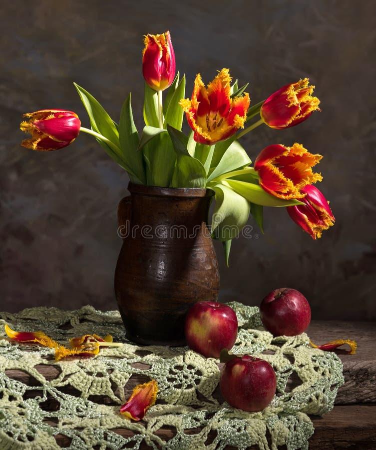 Tulipas bonitas e maçãs vermelhas fotos de stock